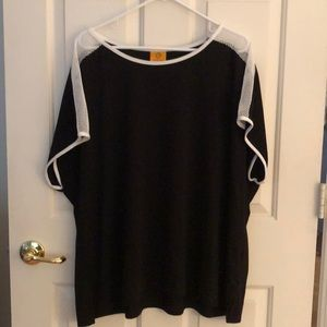 Ruby Road Black Top w/ White Mesh Sleeve